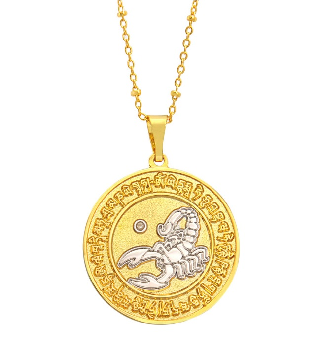 ゴールドコイン・ネックレス 黒サソリ